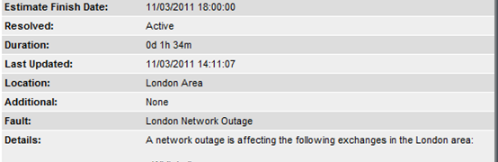 Easynet  - Outage on Service (DSL and SureStream Access) and Product (Business DSL Option 2)