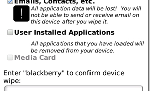 Blackberry – Using the Security Wipe to erase information?